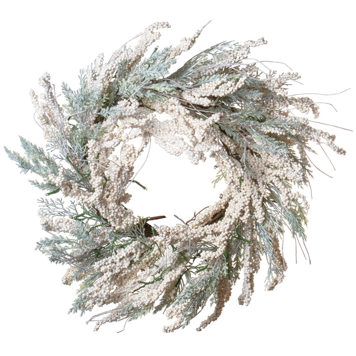 "Red Co. 23"" Christmas Wreath with White Berries and Cedar Leaves, Battery Operated LED Lights, Artificial Home Decor for Fall Winter"