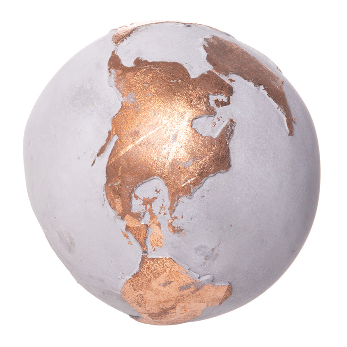 Red Co. Bronze Cement Globe - Home Office Decoration and Paperweight, 4.75-inch
