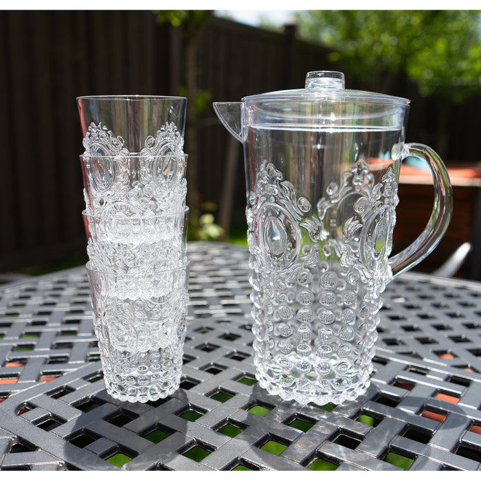 "Break Resistant ""Dew Drop"" Clear Plastic Pitcher with Lid and 4 Tumbler Glasses Drinkware Set - Perfect for Iced Tea, Sangria, Lemonade (82 fl oz. pitcher - 14.5 fl oz. glasses)"