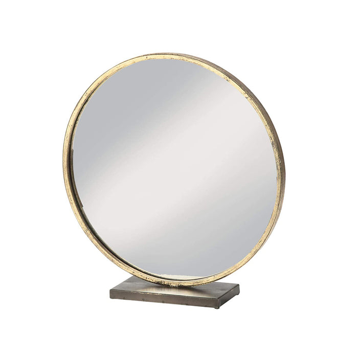Large Loft Style Gold Beveled Round Mirror in Antique Brass Frame - Table Top Makeup Decor - 16""