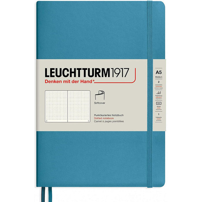 Leuchtturm1917 A5 Medium Softcover Notebook with 123 Dotted Pages — Nordic Blue