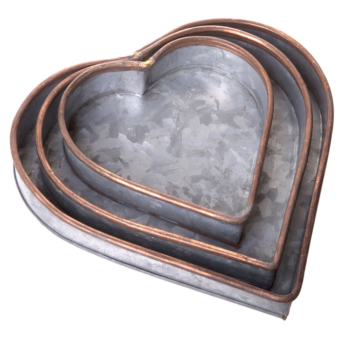 Red Co. Lovely Decorative Nesting Heart Trays, Galvanized Metal Storage Organizer Centerpiece Décor, Set of 3 Sizes