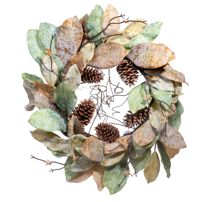 "Red Co. 24"" Forest Magnolia All-Season Wreath, Door Backdrop Ornaments, Home Décor Collection"