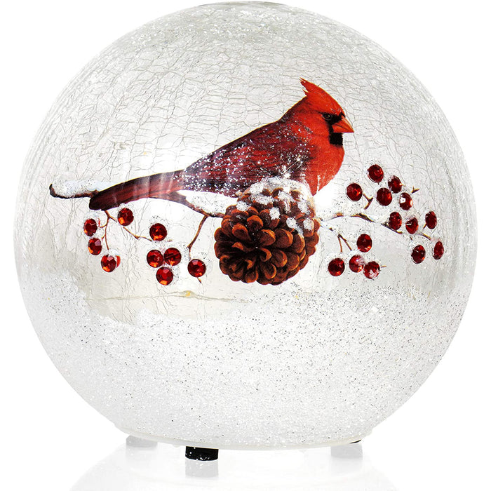 Red Co. 6 inch Lighted Crackle Glass Decorative Globe, Battery Operated Lantern, Cardinal