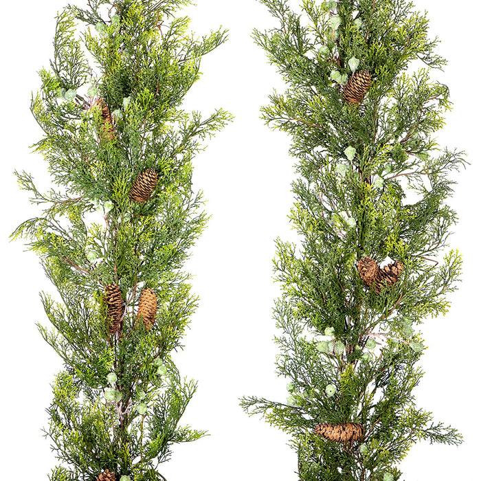 Red Co. Traditional and Classic Artificial Winter Cedar and Pine Cone Garland Set of 2, Seasonal Home Decor for Tablescapes and Mantels, 72""