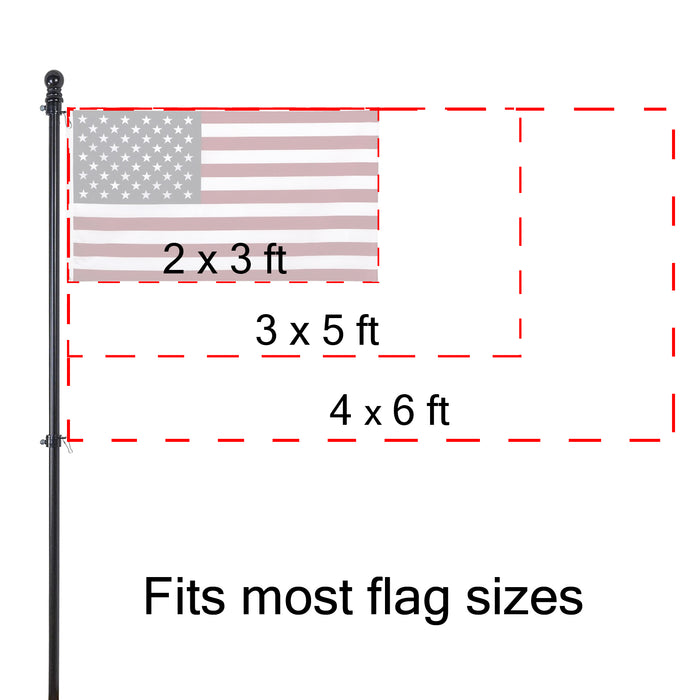Red Co. Outdoor Wall Hanging Wooden House and Estate Flag Pole with Tangle-Free Adjustable Rotating Ring & Anti-Wrap Tube - 56""