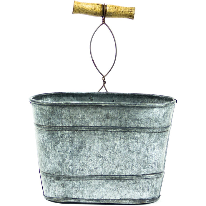 Red Co. Farmhouse Galvanized Hanging Bucket, Small