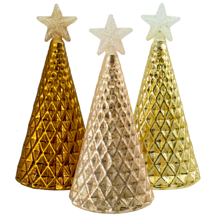 Red Co. Glass Christmas Tree Figurine Ornaments in Gold Finish with Shiny Stars, Tabletop Holiday Season Decor, 6.5 Inches, Set of 3