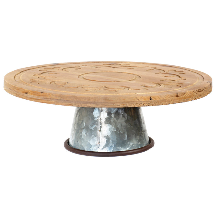 Red Co. Dessert Stand, Wood Carved, Round Shape with Dutch Pattern Carving and Galvanized Metal Bottom