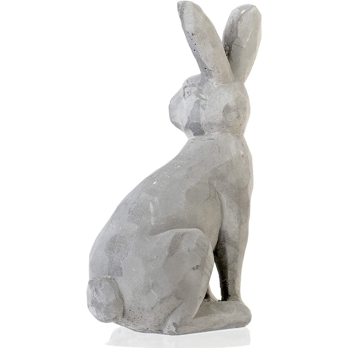 Natural Cement Finished Bunny Rabbit Figurine - Home Decor Statue Paperweight, 8 inches