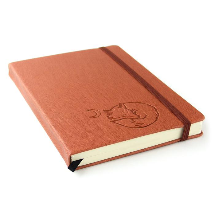 "Red Co. Journal with Embossed Fox, 240 Pages, 5""x 7"" Lined, Rust Orange"