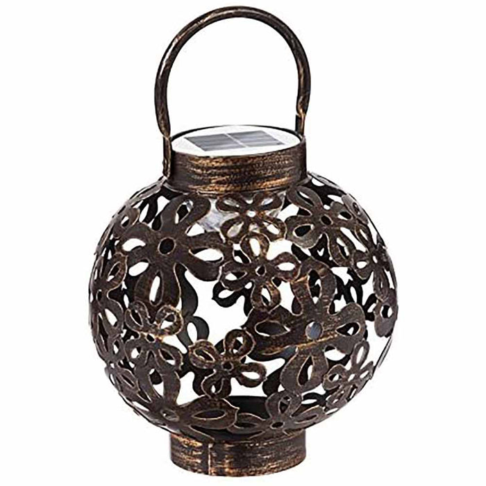 Solar LED Hanging Metal Waterproof Lantern - Decorative Table Lamp for Garden or Patio, Bronze Floral Pattern