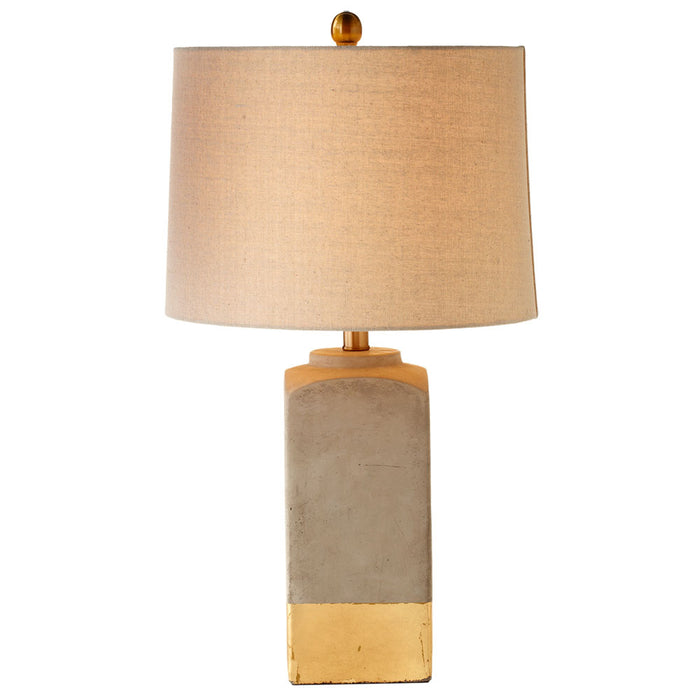 Modern Gold Dipped Cement Table Top Bedside Lamp with Natural Linen Shade, 24 Inches Tall - Set of 2 Accent Lamps