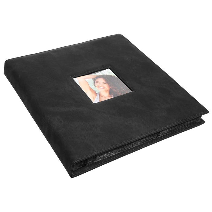 Red Co. Faux Leather Family Photo Album with Front Cover Window Frame – Holds 600 4x6 Photographs