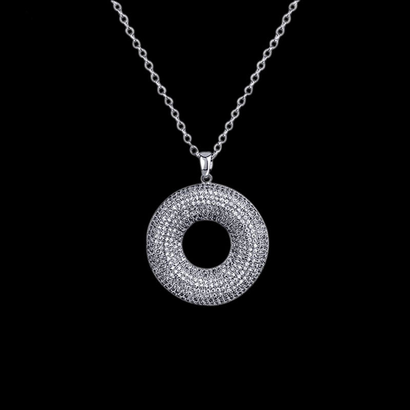 CIRCLE PIECE + 40mm Chain – White Gold