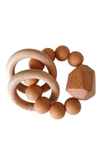 Silicone+Wood Teether Ring- Terra Cotta