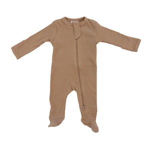 Cafe Organic Cotton Ribbed Footed Zipper One-Piece