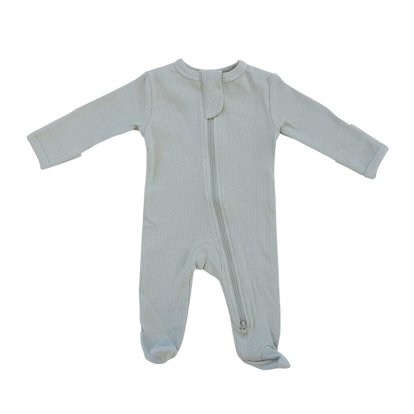 Sage Organic Cotton Ribbed Footed Zipper One-Piece