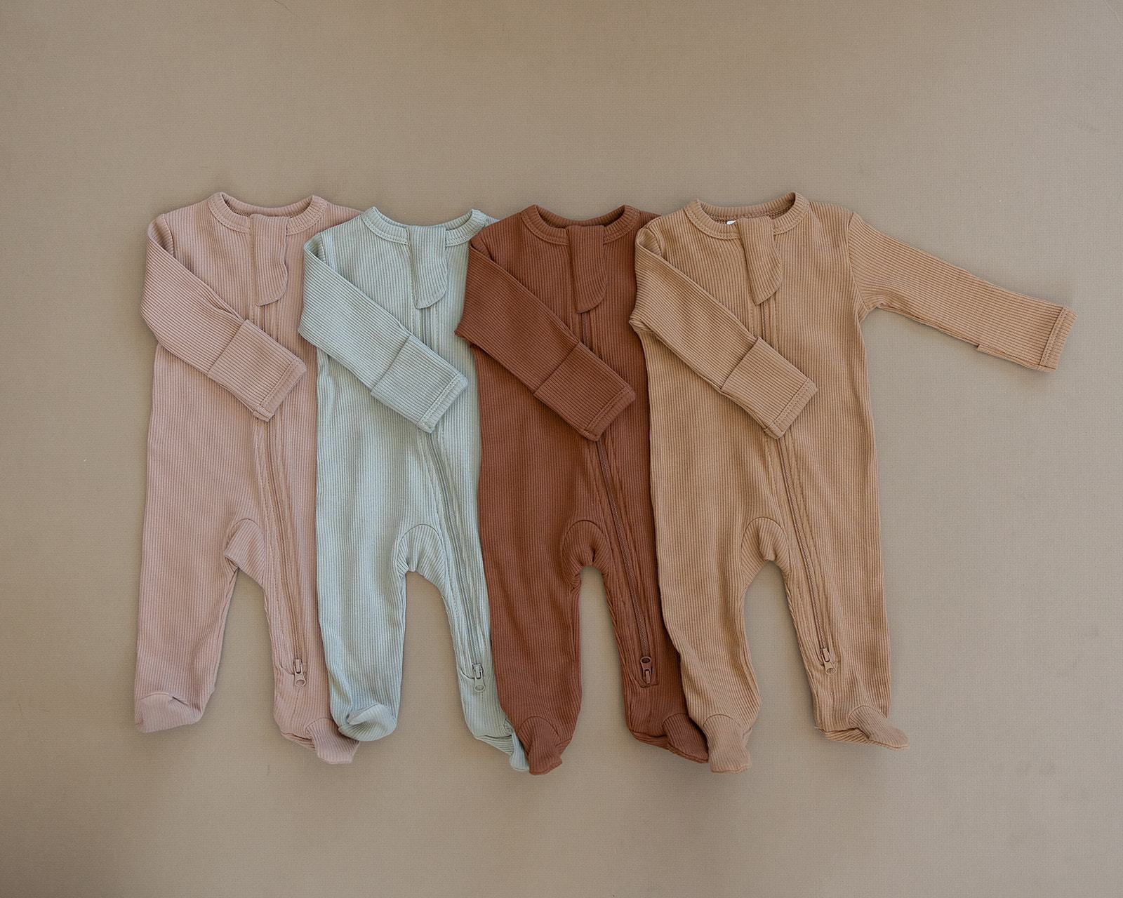 Pale Pink Organic Cotton Ribbed Footed Zipper One-Piece