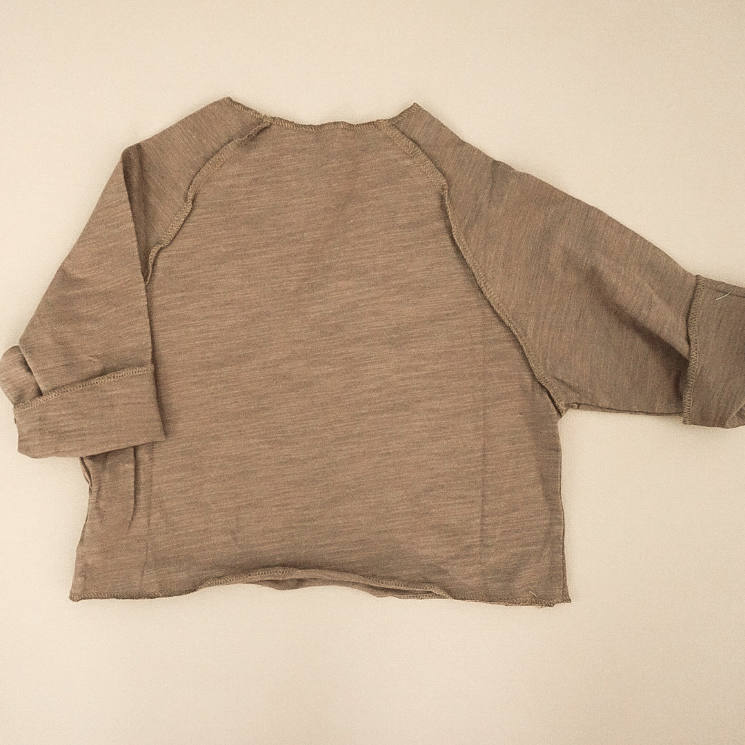 Raw Edge Slouch Pullover (Chocolate & Artichoke)