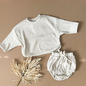 Oatmeal Two-Piece Ribbed Set