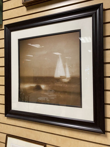 28 SQ Brn Frame Sepia Sailboat Photo Print LEFT