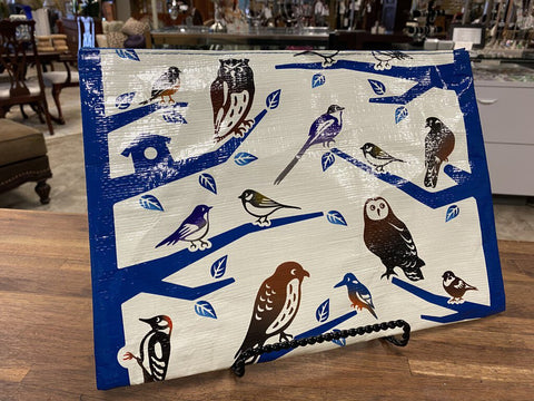 Blue Branches With Brown Birds BLUE Q Jumbo Pouch