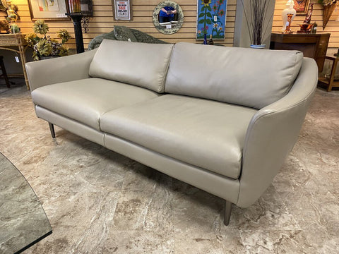 WEST ELM Sloane Leather 2-Cushion Contemporary Steel Leg Sofa (retail $2,999)