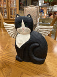 Handcrafted Wood SIGNED JAMES HADDON Tuxedo Cat Angel 9W 8H