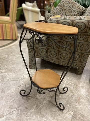 LONGABERGER Generations Hexagon Wood & Iron Plant Stand/ Occasional Table