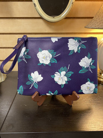 Draper James Large Wristlet - Purple w/White Flower