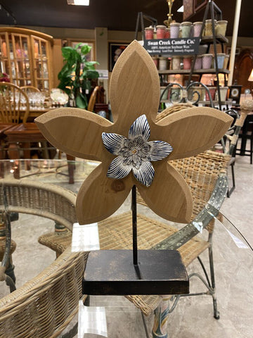 9.5 W x 12 H Wood Flower On Black Metal Distressed Base