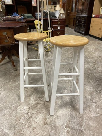 PAIR 13W 29H Wht Leg Wood Seat COUNTER HEIGHT Stools