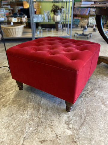 24W 24D 15H Red Velvet Button Tufted Ottoman/ Wood Turned Feet