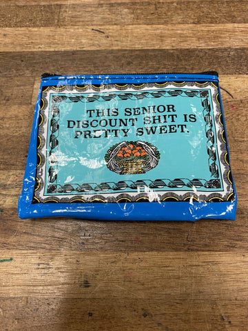 Senior Discount Blue Q Coin purse