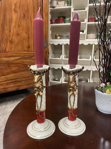 PAIR 9.75 H Glazed Cream/Brown/Red Candlesticks w Deer Motif & Candles