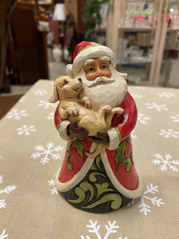 "JIM SHORE 5H Red Santa w Puppy Dog ""Santa's Best Friend"""