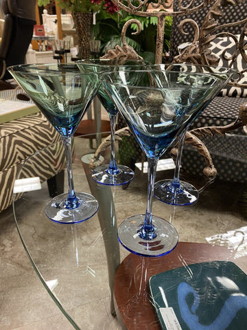 SET of FOUR 4.5W 8H Blue Grn Ombre Martini Glasses