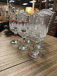 "SET OF SIX 2.75DIA x 7H Libby Gold Rimmed & Etched Wine Glasses w ""Winter Village Scene"""