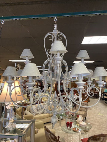 52W 52H Cool Patina 12-Light Chandelier w/ Metal Shades