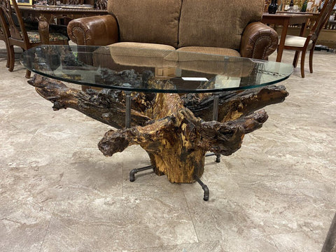 "LOCAL ARTIST 51W 31D 24H Tree Trunk & Blk Iron Pipe Table w/ Eye-Shaped 1/2"" Thick Glass Top"