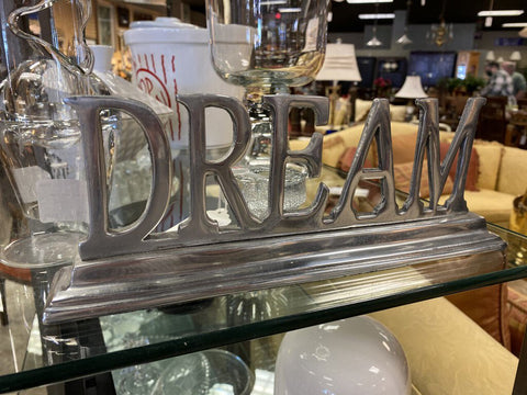 11.25W 2D 4.25H Cast Silvertone Silhouette Sign 'DREAM