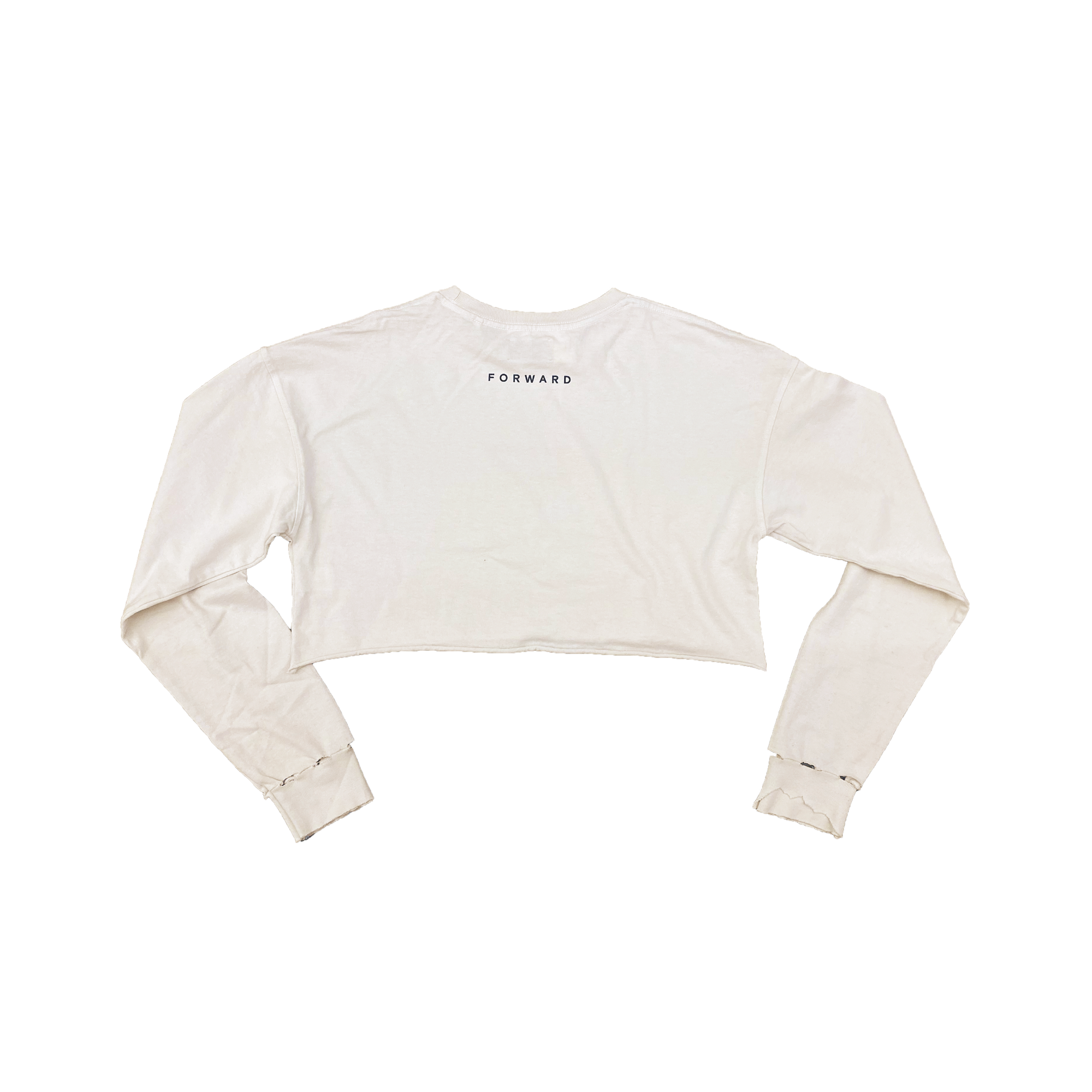 Distressed crop long sleeve t-shirt
