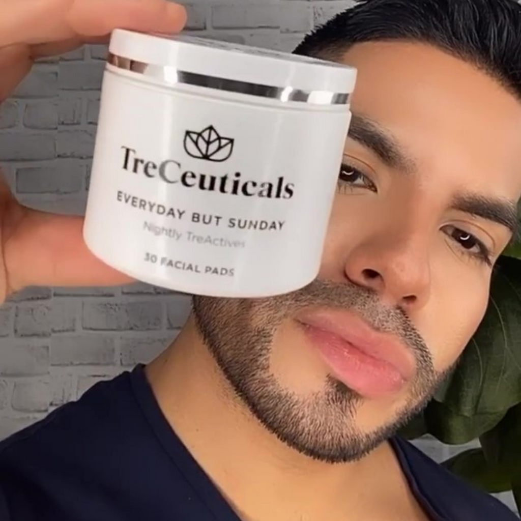 Review on Treceuticals everyday but Sunday facial pads by Jorge with Trendiguy