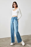Women's Super High Waist Blue Wide Leg Jeans - Argos Closet