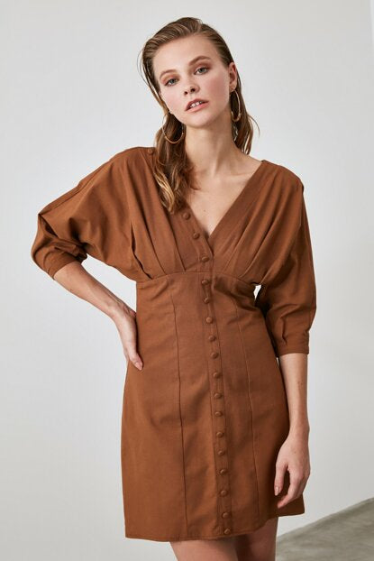 Women's Button Brown Short Dress - Argos Closet