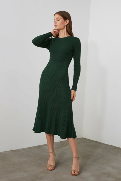 Women's Crew Neck Green Tricot Dress - Argos Closet