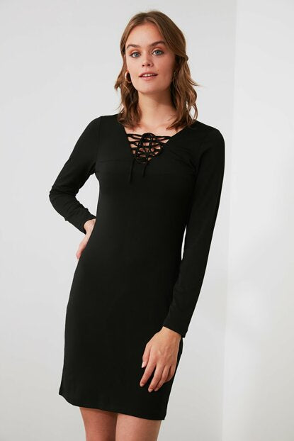 Women's Collar Detail Black Short Dress - Argos Closet
