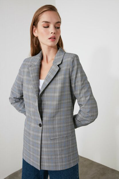 Women's Plaid Grey Blazer Jacket - Argos Closet