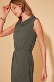 Women's Collar Detail Khaki Midi Dress - Argos Closet